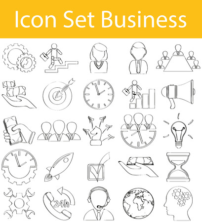 rev: Drawn Doodle Lined Icon Set Business with 25 icons for the creative use in graphic design