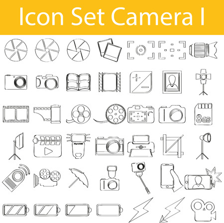 photo printer: Drawn Doodle Lined Icon Set Camera I with 42 icons for the creative use in graphic design Illustration