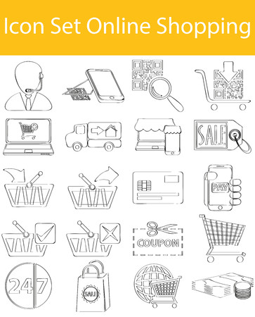 ecommerce icons: Drawn Doodle Lined Icon Set Online Shopping with 20 icons for the creative use in graphic design