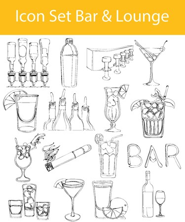 closing time: Drawn Doodle Lined Icon Set Bar & Lounge with 16 icons for the creative use in graphic design