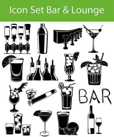bar lounge: Icon Set Bar & Lounge with 16 icons for the creative use in graphic design Illustration