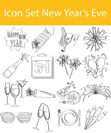 exempted: Drawn Doodle Lined Icon Set New Years Eve with 16 icons for the creative use in graphic design