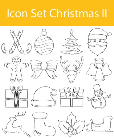exempted: Drawn Doodle Lined Icon Set Christmas II with 16 icons for the creative use in graphic design