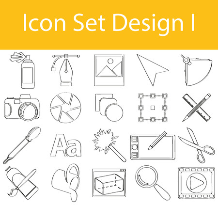 exempted: Drawn Doodle Lined Icon Set Design I with 20 icons for the creative use in graphic design