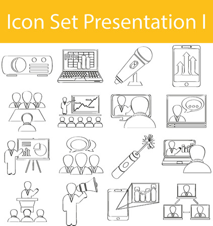 exempted: Drawn Doodle Lined Icon Set Presentation I with 16 icons for the creative use in graphic design