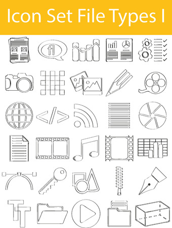 mpg: Drawn Doodle Lined Icon Set File Types I with 30 icons for the creative use in graphic design