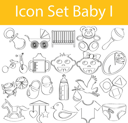 playpen: Drawn Doodle Lined Icon Set Baby with 20 icons for the creative use in graphic design