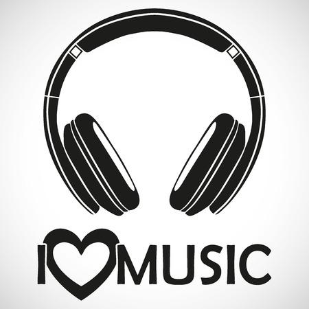 Cuffie dell'icona di marchio Amo la musica che per l'utilizzo creativo nella progettazione grafica