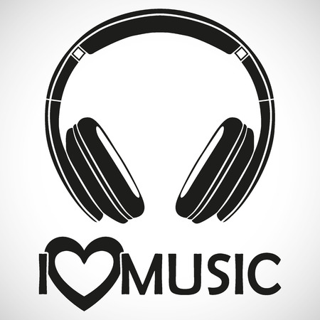 "Headphones Logo Icon ""I LOVE MUSIC"" I for the creative use in graphic design"