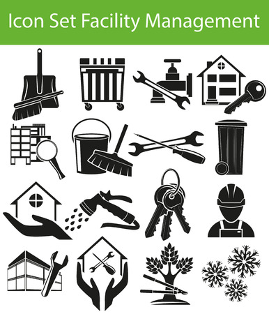 Icon Set Facility Management I with 16 icons for the creative use in graphic design