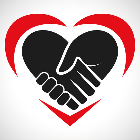 affection: Illustration Icon Vector Heart Handshake for the creative use in graphic design