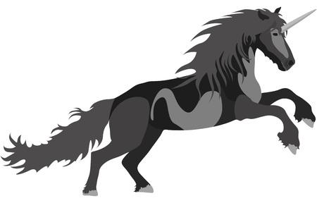 Illustration black Unicorn for the creative use in graphic design