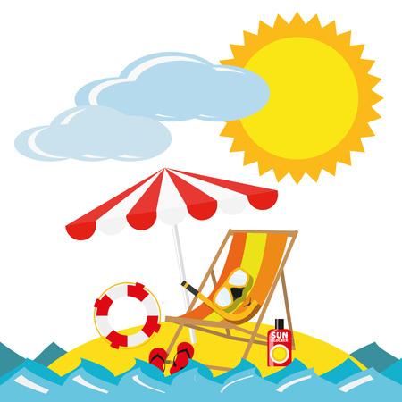 Illustratie Zomervakantie Reis voor het creatieve gebruik in grafisch ontwerp Stock Illustratie