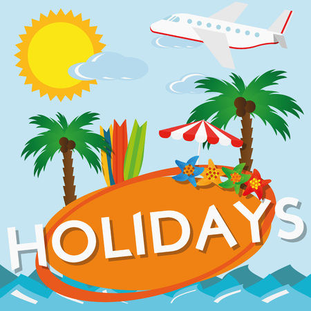 sun cream: Illustration Summer Holiday Travel for the creative use in graphic design