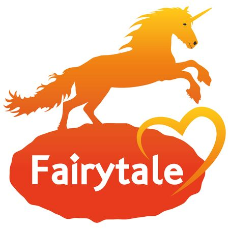 Illustration Fairytale Unicorn with heart for the creative use in graphic design