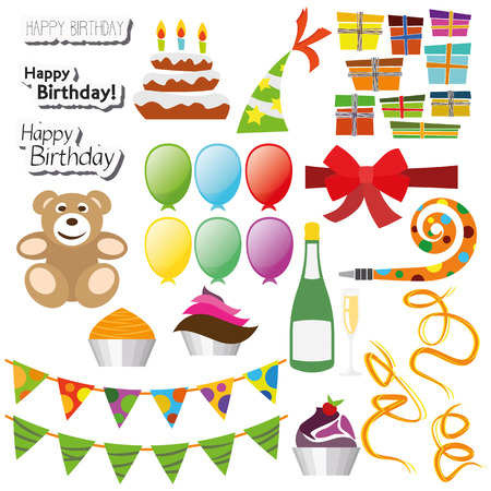 Flat Design Icon Set Happy Birthday Party for the creative use in graphic design Illustration