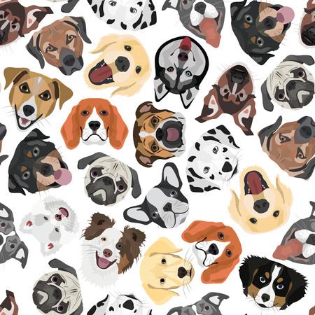 Perros de patrones sin fisuras de ilustración para el uso creativo en diseño gráfico.