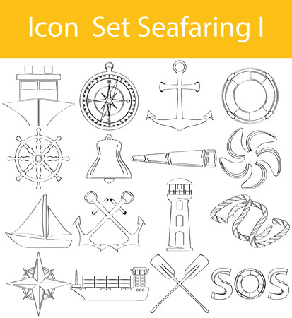 Drawn Doodle Lined Icon Set of Seafaring Illustration