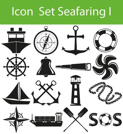Icon Set of Seafaring in graphic design Illustration