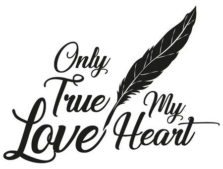 Illustration Vector Only True Love voor het creatieve gebruik in grafisch ontwerp Stock Illustratie