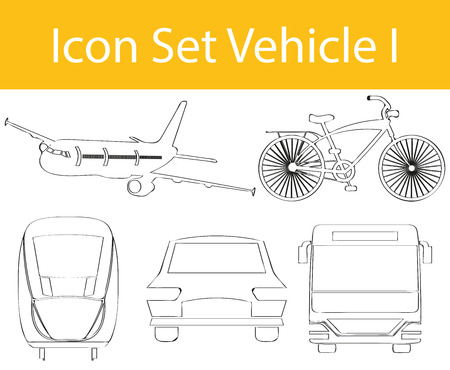Drawn Doodle Lined Icon Set Vehicle I with 5 icons for the creative use in graphic design