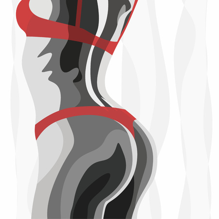 Illustration black white woman with red dessous for the creative use in graphic design