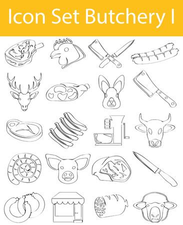 Butchery Drawn Doodle Line Icon Set