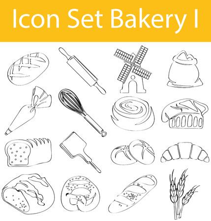 Bakery Drawn Doodle Line Icon Set. Illustration