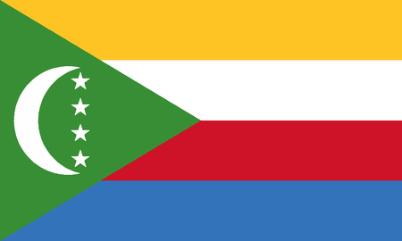 Detailed Illustration National Flag Comoros