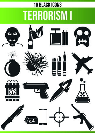 Black pictograms  icons on crime. This icon set is perfect for creative people and designers who need the issue of terrorism in their graphic designs.