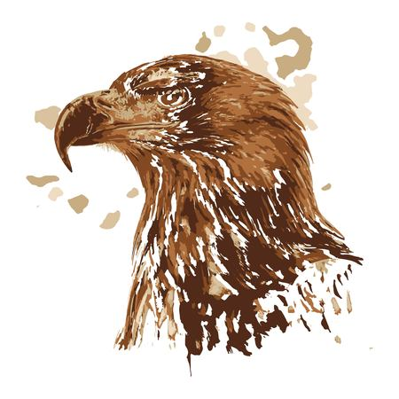 Painting hawk. Art inspires people. This drawing of an eagle is a great design for the graphic design. Artistically inspired the illustration.
