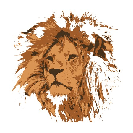 Creative drawing lion. Art inspires people. This drawing of a lion is a great design for the graphic design. Artistically inspired the illustration. Vector Illustration