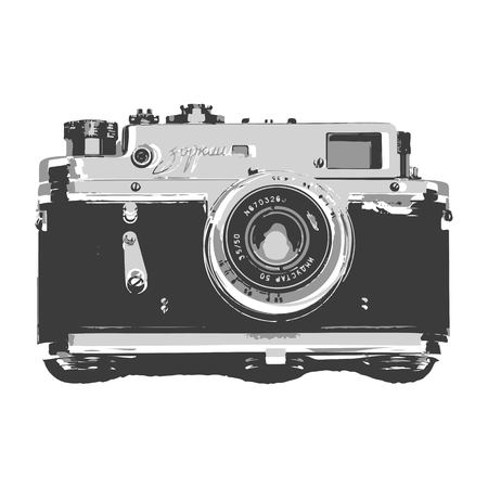 Creative drawing retro camera. Art inspires people. This drawing of the camera is a great design for the graphic design. Artistically inspired the illustration.