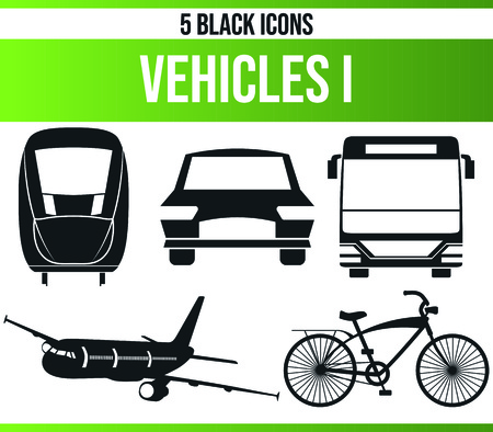 Black pictograms  icons on vehicles. This icon set is perfect for creative people and designers who need the theme of traveling in their graphic designs. Ilustrace