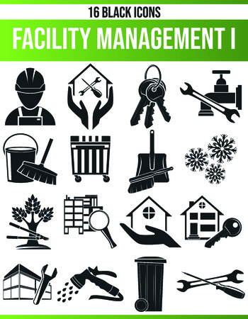 Black pictograms  icons on facility management. This icon set is perfect for creative people and designers who need the subject of trade in their graphic designs. Illustration