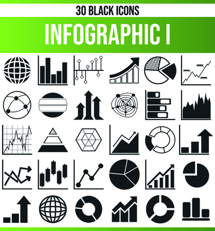 Black pictograms / icons on infographic. This icon set is perfect for creative people and designers who need the issue of statistics in their graphic designs. Illustration