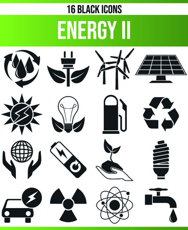 Black pictograms / icons on renewable energy. This icon set is perfect for creative people and designers who need the subject of technology in their graphic design. 矢量图片