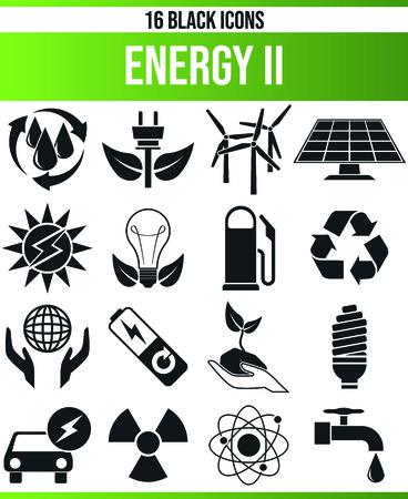 Schwarze Piktogramme / Symbole für erneuerbare Energien. Dieses Icon-Set ist perfekt für Kreative und Designer, die das Thema Technik in ihrem Grafikdesign brauchen. Vektorgrafik