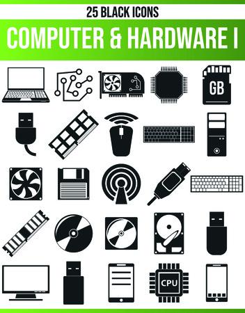 Pictogramas / iconos negros en la computadora. Este conjunto de iconos es perfecto para personas creativas y diseñadores que necesitan el problema del hardware en sus diseños gráficos.