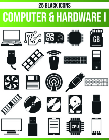 Schwarze Piktogramme/Symbole auf dem Computer. Dieses Icon-Set ist perfekt für Kreative und Designer, die das Hardwareproblem in ihren Grafikdesigns benötigen.