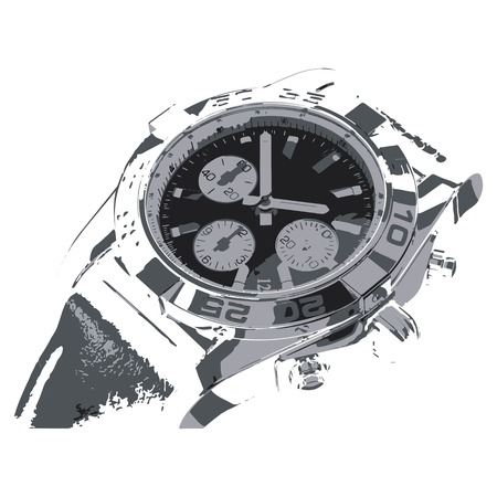 Creative drawing clock. Art inspires people. This drawing of a watch is a great design for the graphic design. Artistically inspired the illustration.