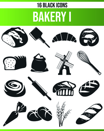 Black pictograms / icons on bakery. This icon set is perfect for creative people and designers who need the issue of bread and bake in their graphic designs. Vector Illustratie