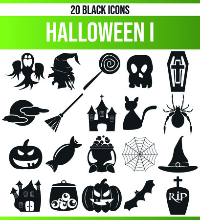 Black pictograms / icons on Halloween. This icon set is perfect for creative people and designers who need the Halloween theme in their graphic designs. Illustration