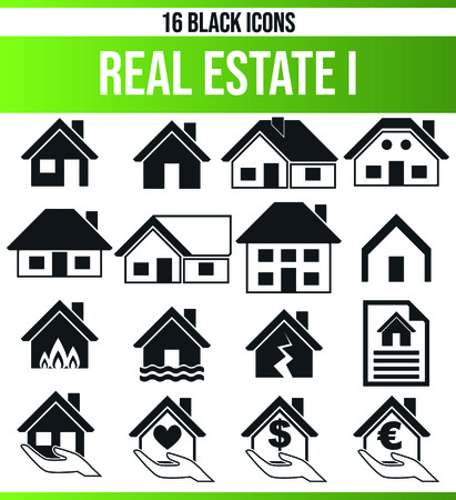 Black pictograms / icons on the subject property. This icon set is perfect for creative people and designers who need the real estate aspect in their graphic designs. Ilustrace