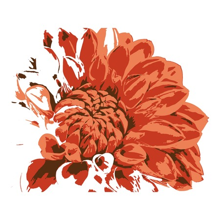 Creative drawing dahlia. Art inspires people. This drawing of a dahlia is a great design for the graphic design. Artistically inspired the illustration.