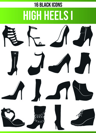 Black pictograms / icons on high heels. This icon set is perfect for creative people and designers who need the issue of high heels in their graphic designs. Standard-Bild - 114819102
