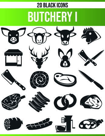 Black pictograms  icons on butchery. This icon set is perfect for creative people and designers who need the issue of meat in their graphic designs.