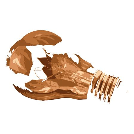 Creative drawing shattered light bulb. Art inspires people. This drawing of a light bulb is a great design for the graphic design. Artistically inspired the illustration. Ilustração