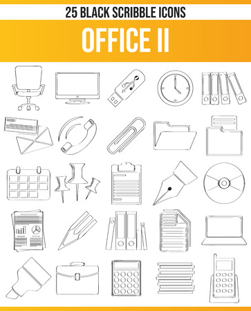 Black pictograms / icons for Office. This icon set is perfect for creative people and designers who need the theme work in their graphic designs.