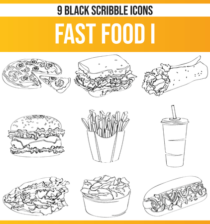 Black pictograms / icons on fast food. This icon set is perfect for creative people and designers who need the theme of fast food in their graphic designs.